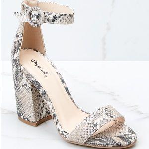 Qupid snake skin block heel - size 10